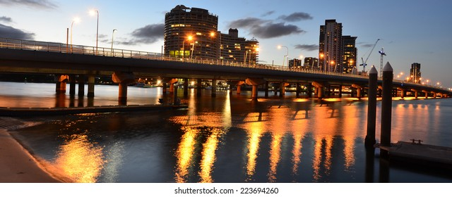 Panoramic view of Sundale Bridge  with Southport skyline at dusk in Gold Coast, Queensland AUstralia.