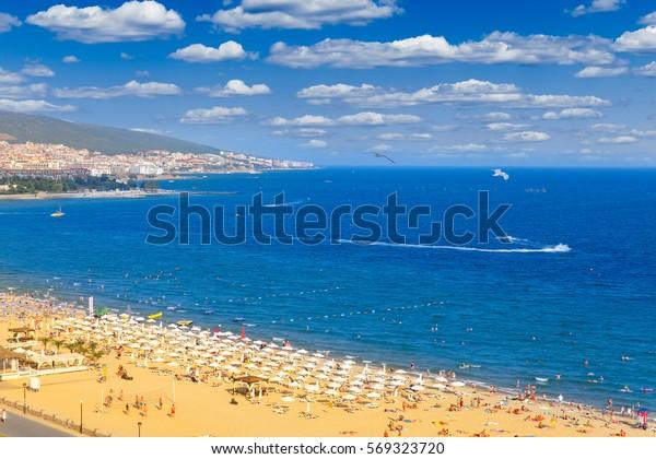 Panoramic view of Sunny Beach in Nesebar, Bulgaria.