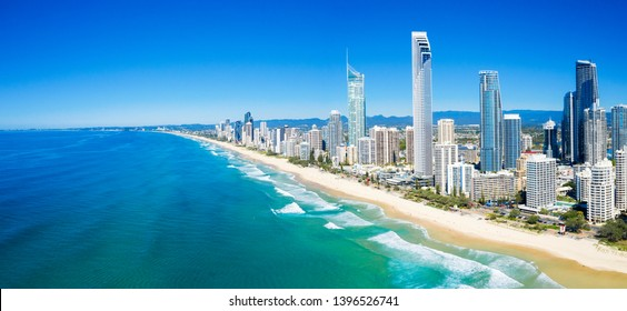 Panoramic view of sunny Surfers Paradise on the Gold Coast looking from the North, QLD, Australia