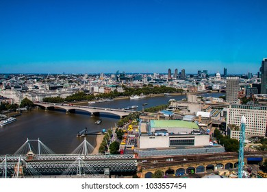 Panoramic view in sunny weather over London