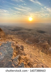 Panoramic View of the sunrise at the Makhtesh Ramon Crator at Mitzpe Ramon, Sothern Negev, Israel.