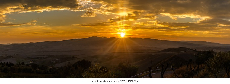 Panoramic view at the sunset above the Tuscany countryside from Volterra - Italy