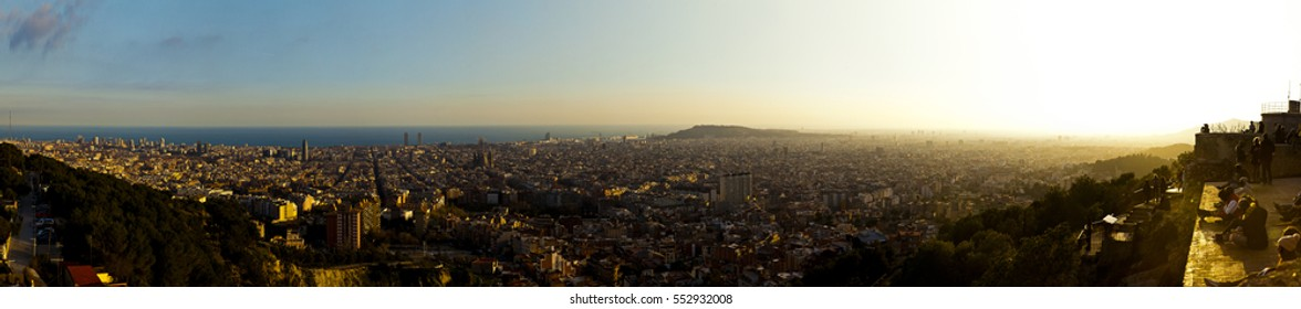 panoramic view of sunset barcelona in sightseeing hill