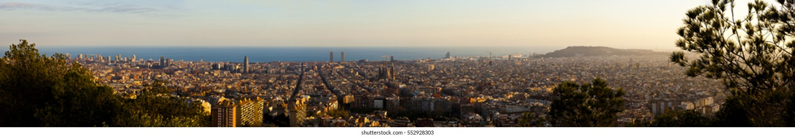 panoramic view of sunset from el carmelo bunker, horta, barcelona, catalonia, spain.