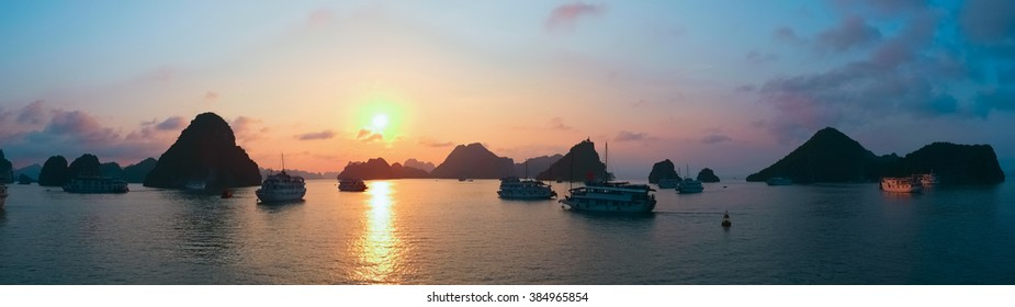 Panoramic view of sunset in Halong Bay, Vietnam, Southeast Asia