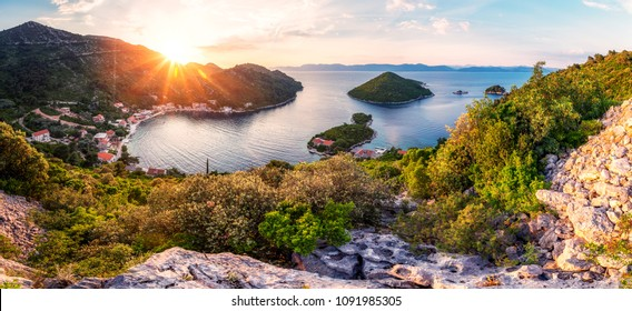 Panoramic view and sunset image of Prozurska luka at island Mljet in Croatia