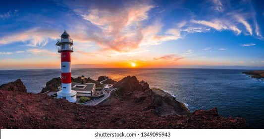 Panoramic view of a sunset at the lighthouse of Punta de Teno, Tenerife