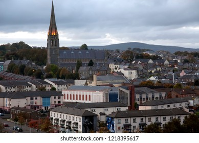 Panoramic view at sunset of Londonderry city, north ireland, october 2010