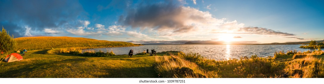 Panoramic view of sunset at Myvatn lake on Iceland, summer 2017