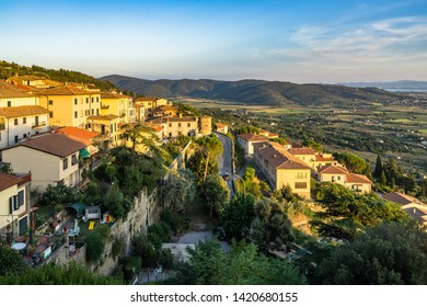 Panoramic view at sunset on Tuscan countryside from Cortona, a town in Arezzo province, Italy