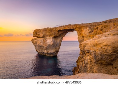 Panoramic View of Sunset over the Azure Window using as Nature Wallpaper or Background, Gozo, Malta