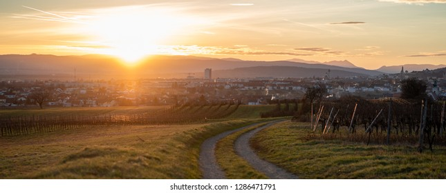 A panoramic view of the sunset over Eisenstadt, Burgenland