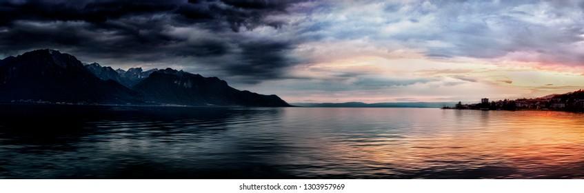 Panoramic view of sunset over Lake Geneva from banks of Lake Geneva,Switzerland