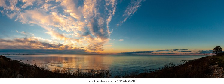 Panoramic view of sunset over the sea