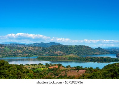 A panoramic view of the surrounding hills and islands of  Suchitlán Lake in Suchitoto, El Salvador