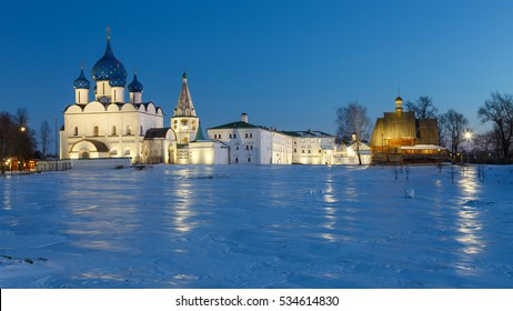 Panoramic view of Suzdal Kremlin in winter evening. Suzdal one of the oldest cities of Russia.