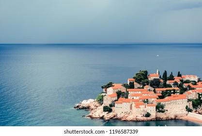 Panoramic view of Sveti Stefan, or St Stephan in Budva, Montenegro.