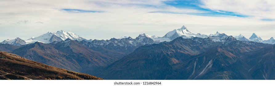 Panoramic view of the Swiss alps from the Daubenhorn mountain.