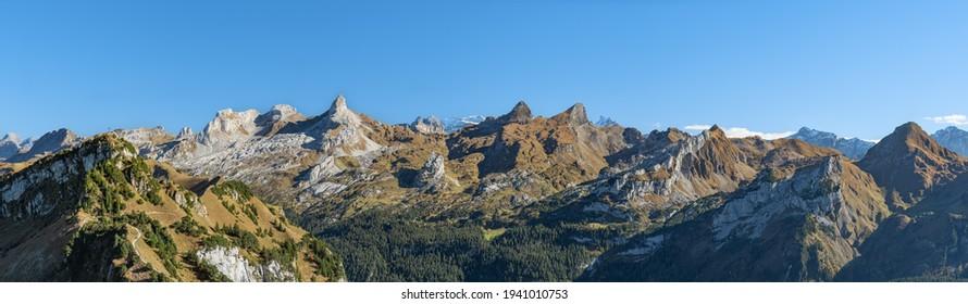 A panoramic view of the Swiss Alps from the peak of Fronalpstock, Switzerland