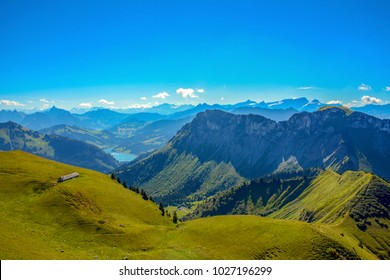 Panoramic view of Swiss Alps, view from Rochers de Naye, Switzerland.