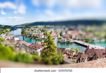 Panoramic view of Swiss town Schaffhausen. River Rhine. Europe. Miniature tilt shift lens effect.