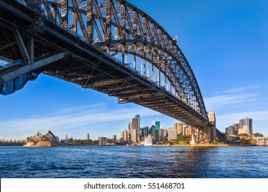 Panoramic view of the Sydney Harbour Bridge.