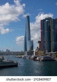 Panoramic view of Sydney Harbour and City Skyline of Darling Harbour and Barangaroo Australia