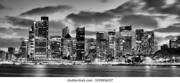 Panoramic view of Sydney skyline at night from Kirribilli, Australia