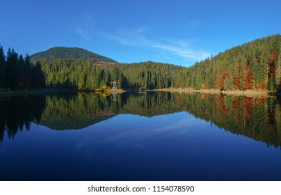Panoramic view of Synevir high altitude lake and forest is reflected in calm water at autumn day the leaf fall.