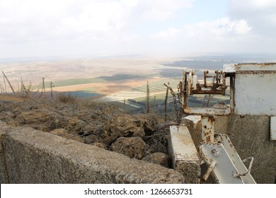 Panoramic view of Syria from a heavy machine gun position and pillbox on Mount Bental Israeli military outpost on the border - disused bunker in the Golan Heights