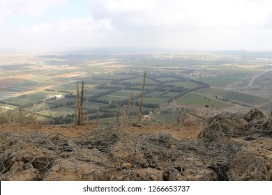 Panoramic view of Syria from Mount Bental Israeli military outpost on the border - disused bunker in the Golan Heights