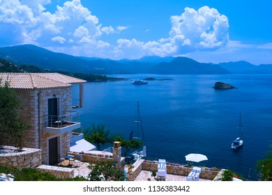 Panoramic view of Syvota village in Greeece