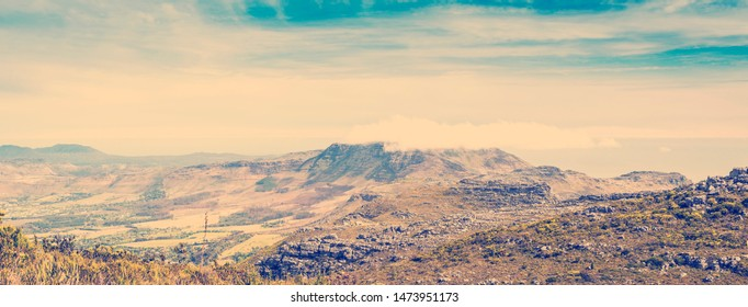 Panoramic view from Table Mountain in Cape Town, South Africa with retro style filter effect