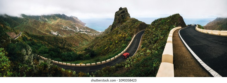 Panoramic view of Taganana village with winding road on north of Tenerife. Canary Islands, Spain
