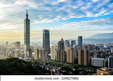 Panoramic view of Taipei, capital city of Taiwan