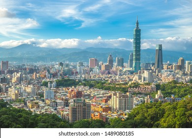 Panoramic view of Taipei City in taiwan with the taipei 101 tower, the tallest building in taiwan