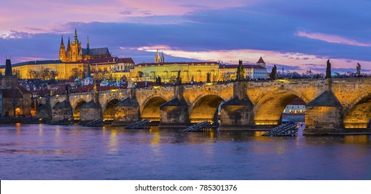 A panoramic view taking in Prague Castle, the Charles Bridge and the Vltava River in the beautiful city of Prague, Czech Republic.