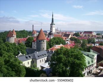 Panoramic view of Tallinn, the capital of Estonia, with some of the main landmarks: the city wall, the St. Nicholas' Church, St. Olaf's Church