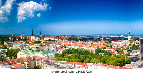 Panoramic View of Tallinn Cityscape in Estonia. Taken from the Top Point in the City with View at Old City Center and Port with Bay. Panorama Image