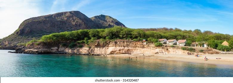 Panoramic view of Tarrafal beach in Santiago island in Cape Verde - Cabo Verde