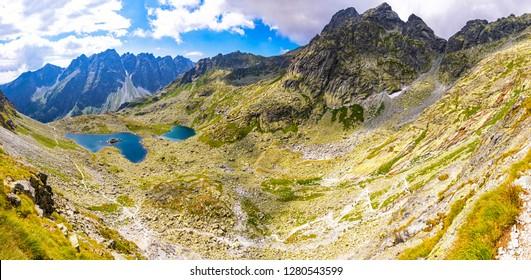 Panoramic view of Tatra mountains and Zabie lakes (Slovak: Zabie plesa, Zabie Stawy Mieguszowieckie). Hiking to mt.Rysy (2503m) in High Tatras Mountains (Vysoke Tatry), Slovakia