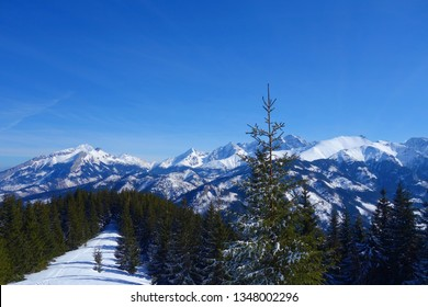 Panoramic view of Tatry mountains on a hiking trail from Morskie oko to Murowaniec, Zakopane, Tatry national park