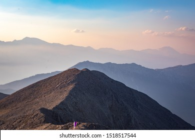 Panoramic view of Taurus Mountain at sunset from the top of Tahtali Mountain near Kemer with a beautiful multi-faceted background, Antalya, Turkey.