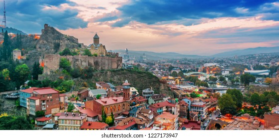 Panoramic view of Tbilisi, Georgia after sunset.