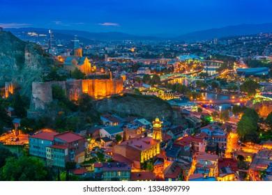 Panoramic view of Tbilisi, Georgia after sunset