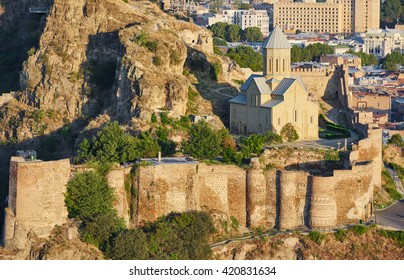 panoramic view of Tbilisi in Georgia, citadel Narikala