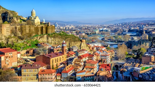 Panoramic view of Tbilisi Old Town with Narikala Fortress, Georgia