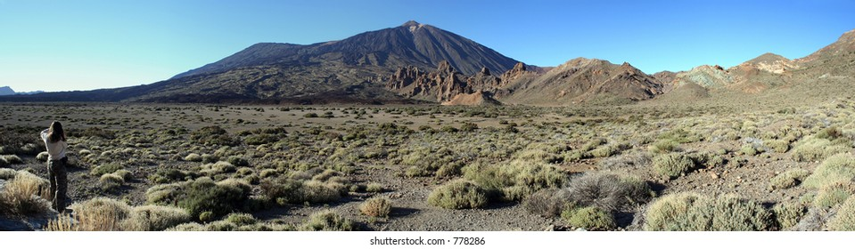 Panoramic view of the Teide volcano in Tenerife on the Canary Islands