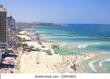 Panoramic view of Tel-Aviv beach (Mediterranean sea. Israel)