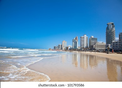 Panoramic view of Tel-Aviv from one of the many beaches on Mediterranean sea. Israel